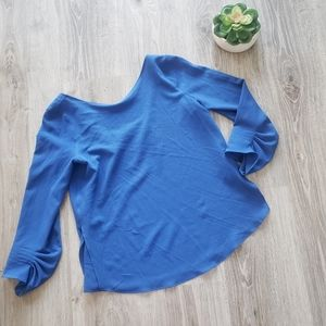 MASSIMO DUTTI | Royal blue 3/4 sleeve blouse